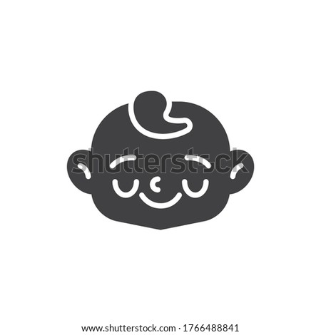 Shy baby face vector icon. filled flat sign for mobile concept and web design. Happy child face glyph icon. Symbol, logo illustration. Vector graphics #1766488841