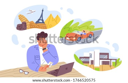 Man think about house, car and vacation vector flat illustration. Pensive dreamer male hold bank card use laptop isolated on white. Thoughtful guy dreaming on future purchases or how spend money #1766520575