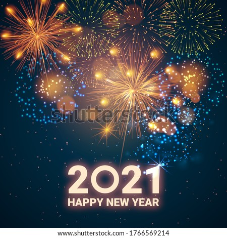 Greeting card Happy New Year 2021. Beautiful Square holiday web banner or billboard with text Happy New Year 2021 on the background of fireworks. Royalty-Free Stock Photo #1766569214