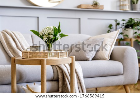 Interior design of scandinavian living room with stylish grey sofa, coffee table, spring flowers, decoration, pillows, plaid, tray and elegant personal accessories in modern home decor. Royalty-Free Stock Photo #1766569415