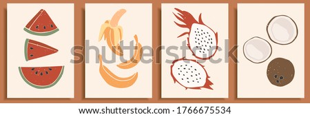 Abstract still life in pastel colors poster. Collection of contemporary art. Abstract elements, tropical fruits for social media, postcards, print. Hand drawn watermelon, banana, dragon fruit, coconut #1766675534
