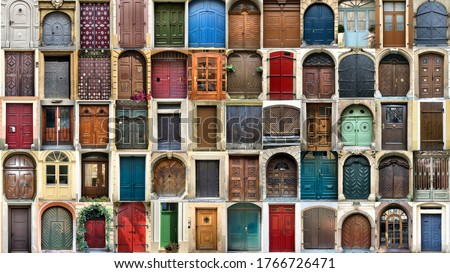 Creative collage with multitude of colorful ancient front house doors, panorama Royalty-Free Stock Photo #1766726471