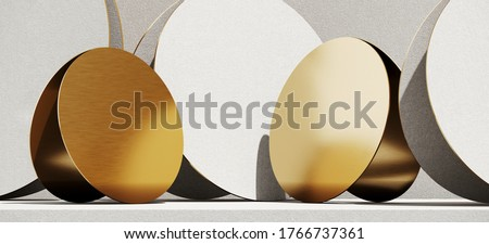 Minimal cosmetic background for product presentation. White and gold podium on circular panel background. 3d render illustration. Object isolate clipping path included.