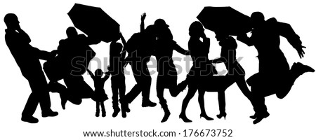 Vector silhouette of group of people with umbrellas. #176673752