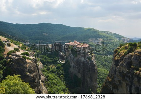 Varlaam Monastery, Greece, summer 2019. View of the Varlaam Monastery from the Great Meteora Monastery. They are located in Meteora, where the monasteries are on giant rocks. #1766812328