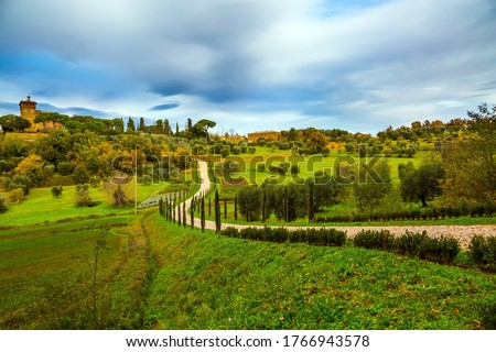 Rural tourism. Cozy picturesque farms in the hills of Tuscany. Olive trees on green grassy meadows. Winding dirt road rises to the farm. The concept of active, rural and photo tourism #1766943578
