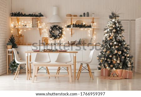 Christmas and New Year decorate the interior of the kitchen #1766959397