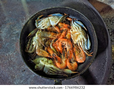 Cooked shrimp and crab, typical food of Guatemala #1766986232