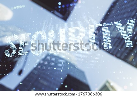 Virtual cyber security creative concept on blurry cityscape background. Double exposure