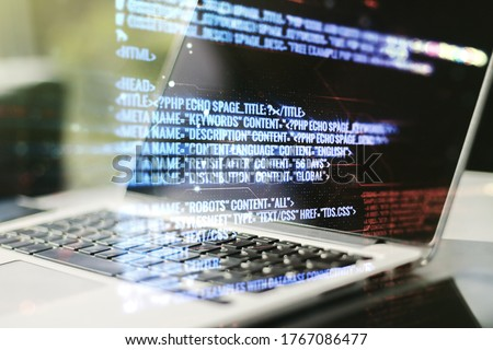 Multi exposure of abstract programming language hologram on computer background, artificial intelligence and machine learning concept