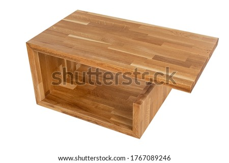Picture of modern wooden table on isolated background