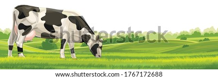 Cow, hills and meadows. Pasture fields, green grass. Horizontal rural landscape. Vector illustration isolated on a white background. Royalty-Free Stock Photo #1767172688