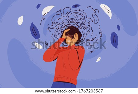 Frustrated woman with nervous problem feel anxiety and confusion of thoughts vector flat illustration. Mental disorder and chaos in consciousness. Girl with anxiety touch head surrounded by think #1767203567