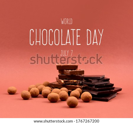 World Chocolate Day stock images. Pile of Chocolate stock images. Assorted chocolate candies isolated on a brown background. Chocolate Day Poster, July 7. Important day #1767267200