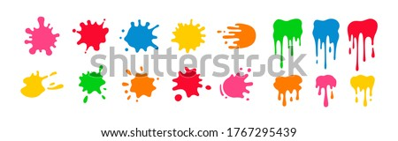 Paint splatter colorful set. Round splash flat collection, decorative shapes liquids. Different splashes and drops, cartoon spatters. Stain colored ink collection. Isolated vector illustration #1767295439
