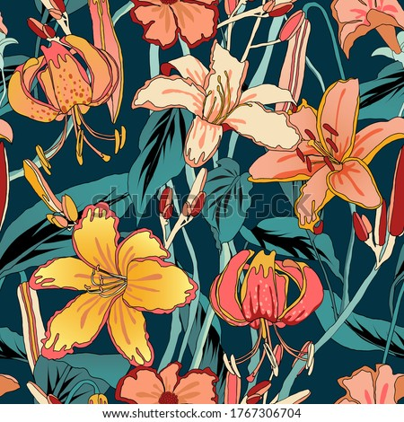 Floral seamless pattern, colorful lily flowers with leaves on dark green #1767306704