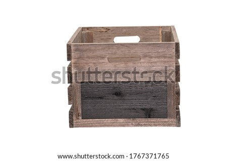 Rustic Wooden Crate Wooden Box Wood Apple Fruit Box Packaging Packing Crate with Lid Black Board Sign Label to End Rustic farm Produce Wooden Crates Apple Box.  Clipping Work Path Included in JPEG