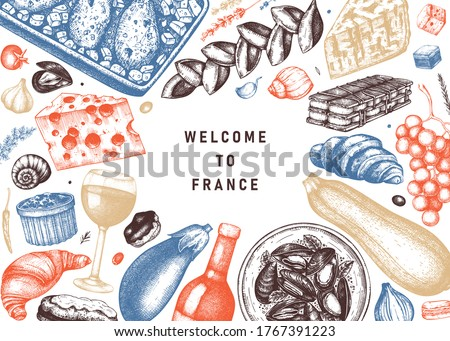 French food and drinks frame in color. Engraved style meat dishes, snacks, desserts, beverages sketches. French cuisine food illustrations template. Restaurant, delivery, store vintage menu design. Royalty-Free Stock Photo #1767391223