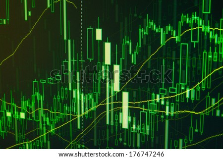 Stock trade on online market forex. Green proffessional manager trader data.
