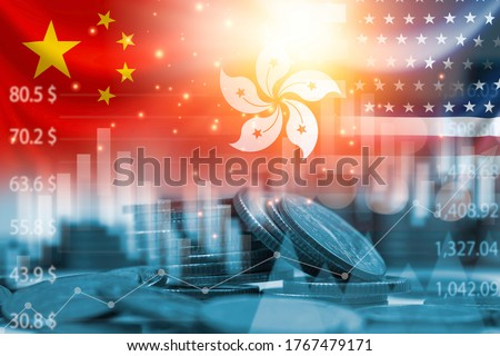 USA China and Hong Kong flag on coins stacking .It is symbol of economic crisis during tensions from protests in Hong Kong and USA China tariff trade war between United states of America and China. Royalty-Free Stock Photo #1767479171