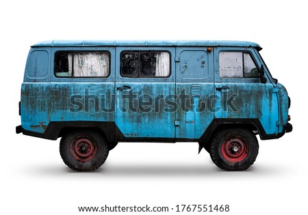 Old Retro Blue Dirty Van with Red Wheels Isolated on White. Rusty Rough Metal Surface Texture. Vintage Antique Soviet Russian Car Bus. Side View. Royalty-Free Stock Photo #1767551468