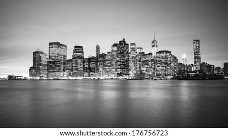 Black and white Manhattan Skyline #176756723