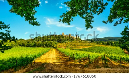 Monteriggioni medieval fortified village and vineyards, route of the via francigena, Siena, Tuscany. Italy Europe. Royalty-Free Stock Photo #1767618050