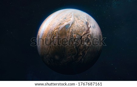 Jupiter planet view from space. Surface of planet. Solar system. Elements of this image furnished by NASA