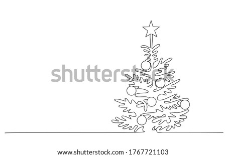 Christmas pine fir tree. Continuous one line drawing. Vector illustration minimalistic design