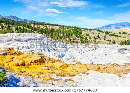 Lower terraces of Mammoth Hot Springs at Yellowstone National Park with Mount Everts in the background. Travertine formations and flowing hot water shape the surreal landscape over time. #1767774680