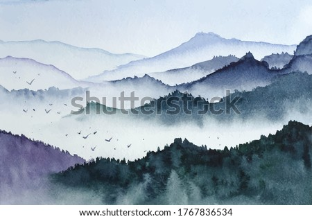 Landscape with mountains, birds and fog in monochrom painted in watercolor in vector Royalty-Free Stock Photo #1767836534