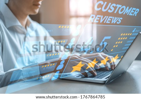 Customer review satisfaction feedback survey concept. User give rating to service experience on online application. Customer can evaluate quality of service leading to reputation ranking of business. #1767864785