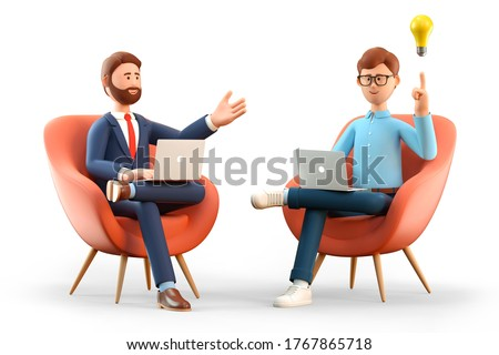3D illustration of startup concept and business agreement. Two men with laptops,  sitting in armchairs and creating new innovation ideas. Cartoon man with bulb overhead and investing businessman.