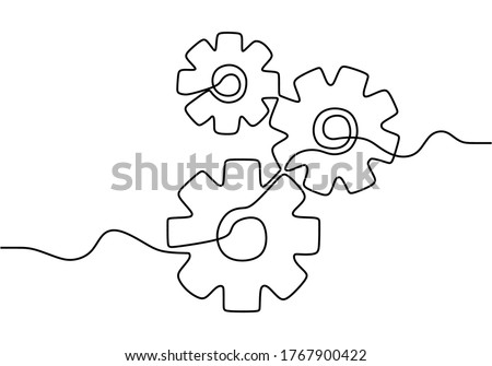 One continuous line of moving gears wheels. Round wheel metal symbol company logotype template for business teamwork concept. Dynamic single line draw graphic design vector illustration