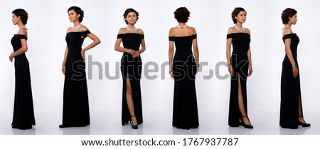 Collage Group Full length Figure of 20s Asian Woman black short curl hair long evening gown and high heel shoes. Female stands and turns 360 angle rear side back view over white Background isolated Royalty-Free Stock Photo #1767937787