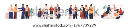 Set of diverse team congratulates colleague vector flat illustration. Collection of people celebrate career development, successful project or birthday isolated. Man and woman employee shaking hands Royalty-Free Stock Photo #1767939299