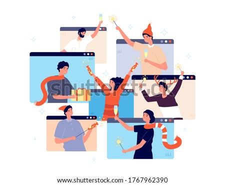 Christmas online party. People celebrating new year, happy friends on video chat. Man woman with champagne confetti gift vector illustration Royalty-Free Stock Photo #1767962390