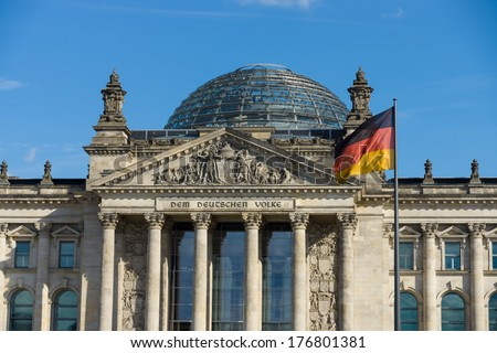 The Reichstag building, a famous historic building in Berlin. Germany.  #176801381