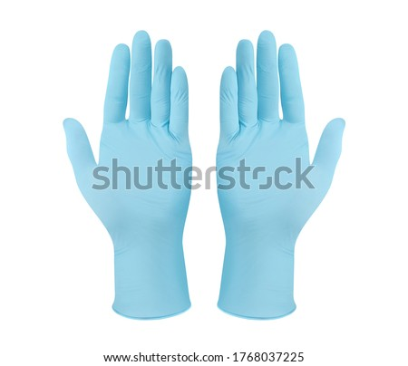 Medical nitrile gloves.Two blue surgical gloves isolated on white background with hands. Rubber glove manufacturing, human hand is wearing a latex glove. Doctor or nurse putting on protective gloves #1768037225