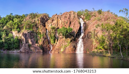 Panorama picture of Wangi falls plunge pool, dry season. Swimming hole with no people. Close to Darwin city. Litchfield National park, Northern Territory NT, Australia