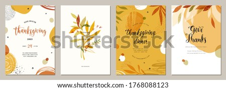 Trendy abstract Thanksgiving templates. Good for poster, card, invitation, flyer, cover, banner, placard, brochure and other graphic design. Vector illustration. #1768088123