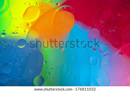 Oil drops on the water surface, abstract art #176811032