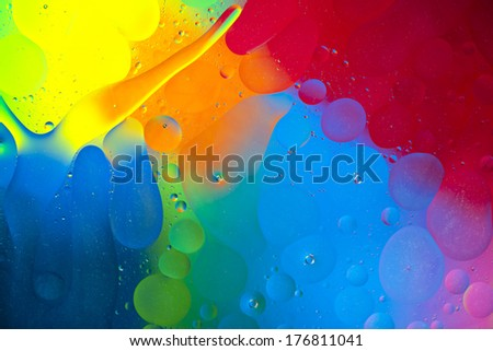 Oil drops on the water surface, abstract art #176811041