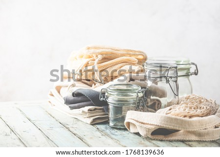 Plastic free products, eco sustainable living and Zero waste concept Royalty-Free Stock Photo #1768139636