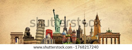 World landmarks and famous monuments collage isolated on panoramic vintage textured background Royalty-Free Stock Photo #1768217240