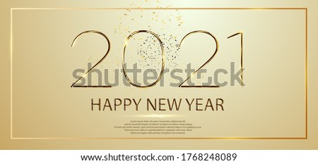 Happy New Year 2021 winter holiday greeting card design template. Party poster, banner or invitation gold glittering stars confetti glitter decoration. Vector golden background #1768248089