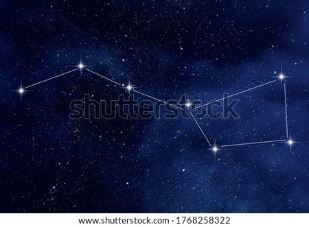 Amazing starry night sky with Ursa Major constellation or the Great Bear and the Big Dipper constellation Royalty-Free Stock Photo #1768258322