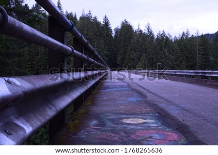 On Sidewalk Of One Lane Bridge Heading Towards Dense Forest  #1768265636