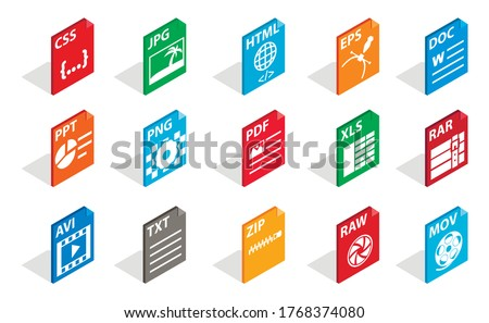 Files type icon set. Isometric set of files type vector icons for web isolated on white background