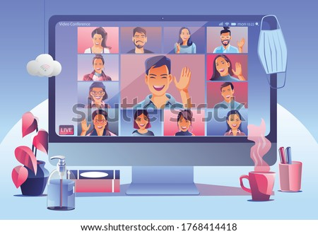 Businessmen use Video conference landing. People on window screen taking with colleagues. Videoconferencing and online meeting workspace page, man and woman learning. Vector illustration, Flat Royalty-Free Stock Photo #1768414418